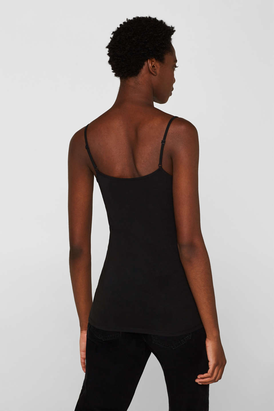 Spaghetti strap top in organic cotton, BLACK, detail image number 3