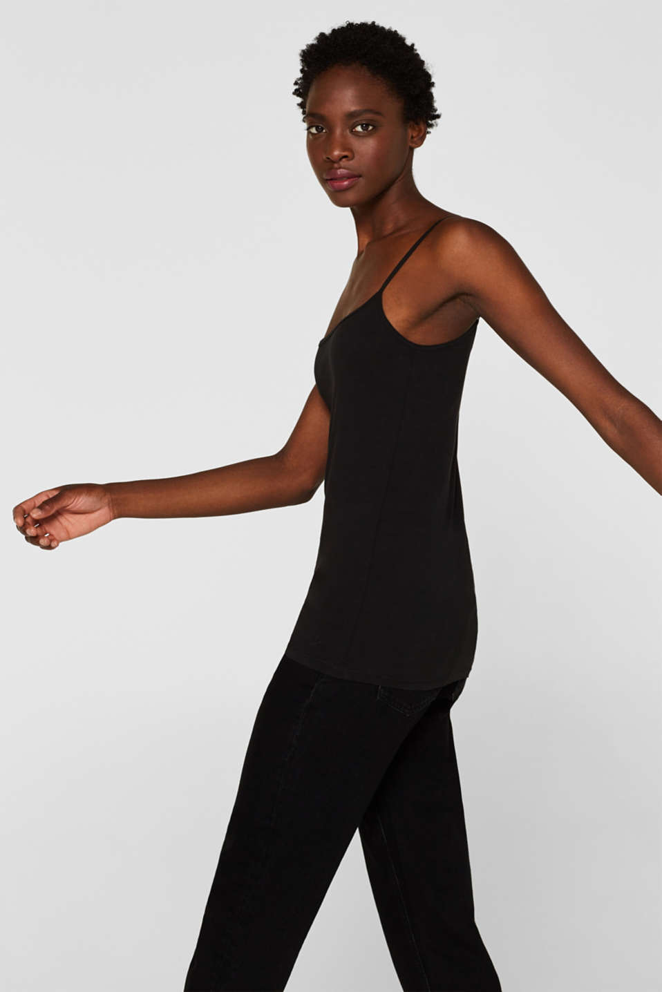 Spaghetti strap top in organic cotton, BLACK, detail image number 5