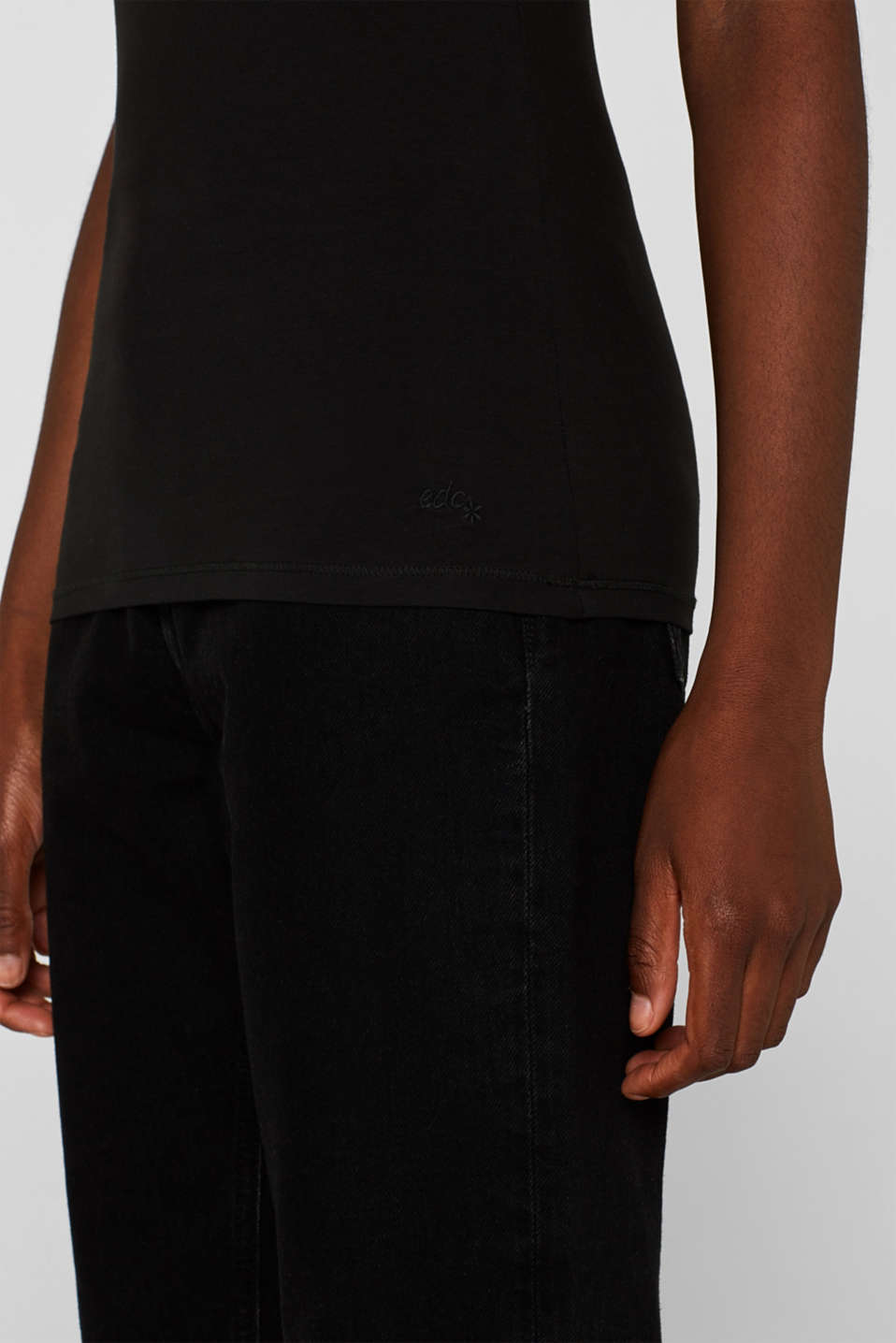 Spaghetti strap top in organic cotton, BLACK, detail image number 2