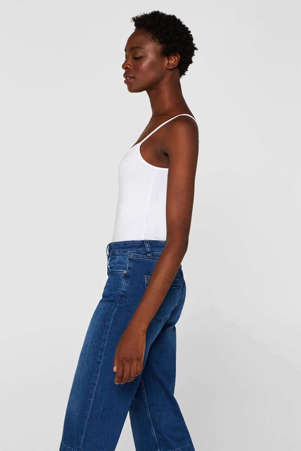Spaghetti strap top in organic cotton, WHITE, detail image number 5