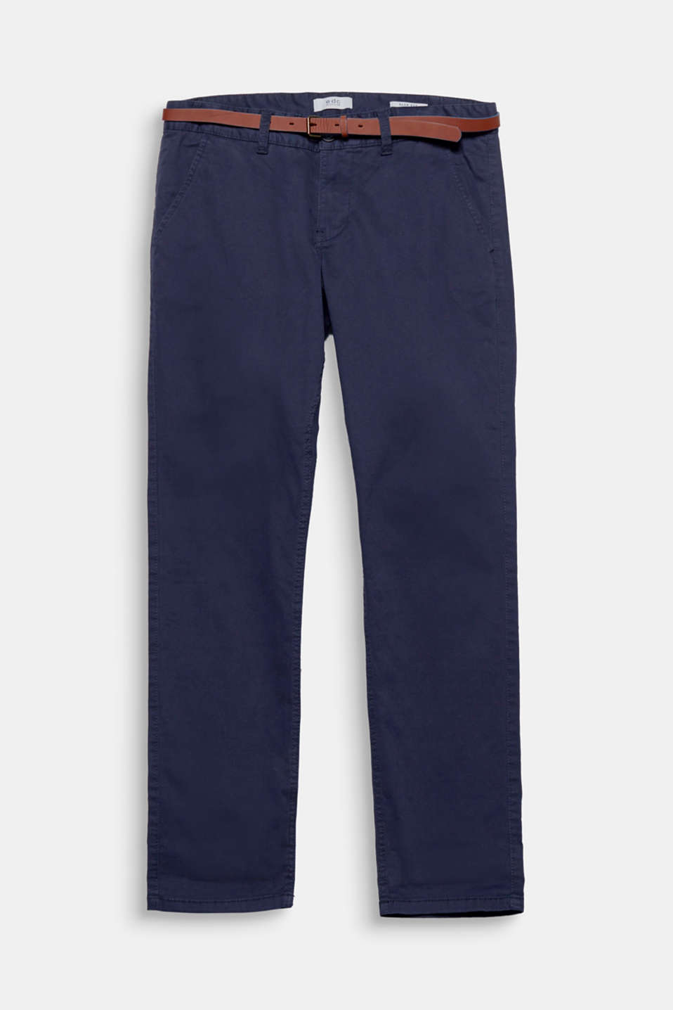 Your everyday favourite! A narrow faux leather belt rounds off these classic chinos.