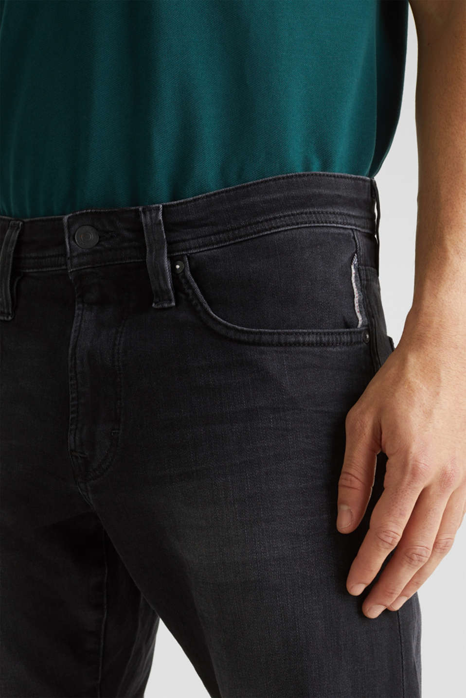 Stretch jeans with washed-out effects, BLACK DARK WASH, detail image number 3