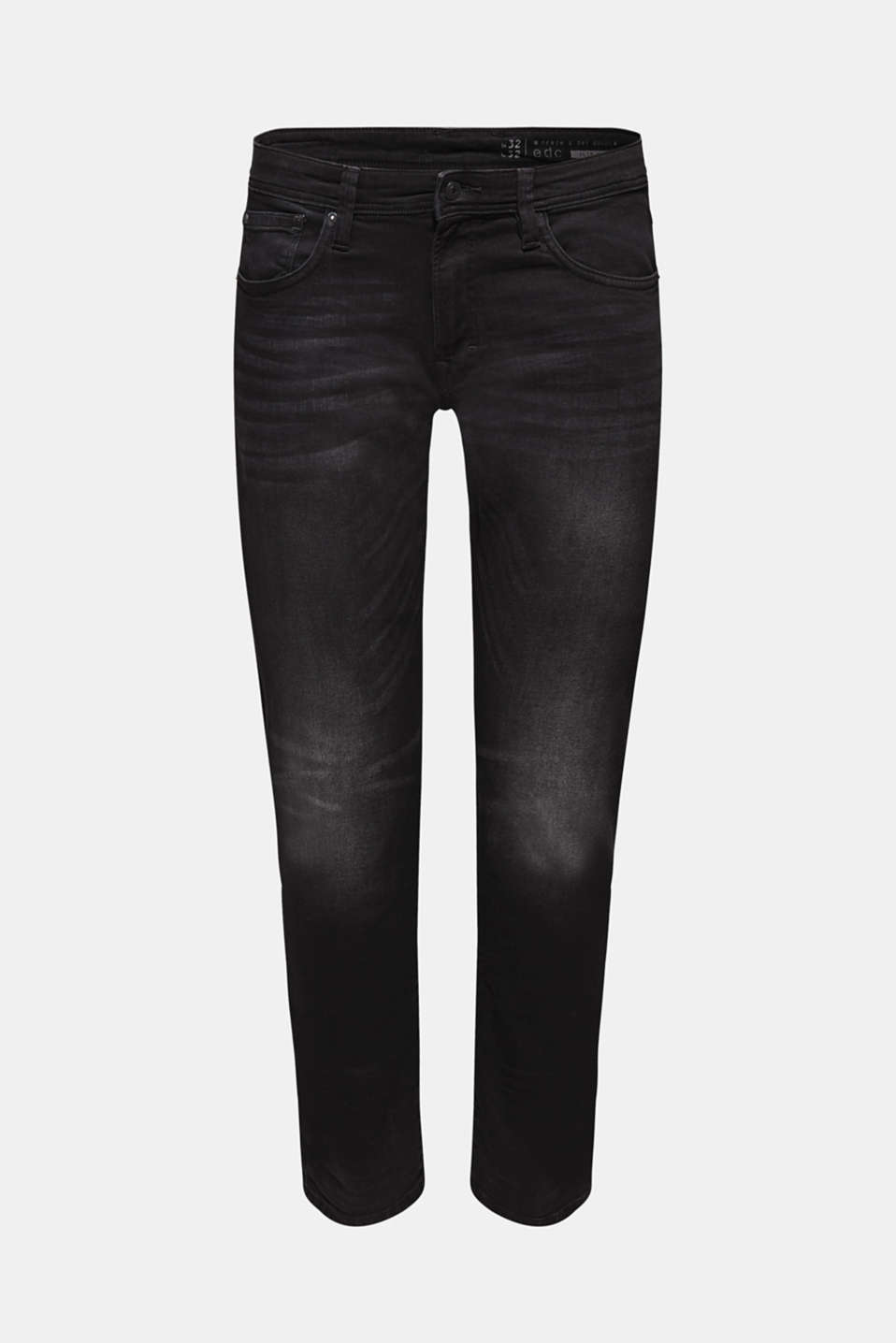 Colourful garment wash and casual wrinkled effects give these black jeans in organic cotton with stretch their cool!