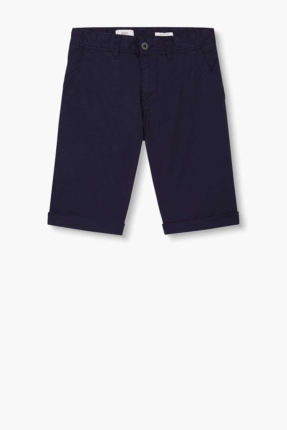 Chino style Bermudas in garment-washed cotton twill