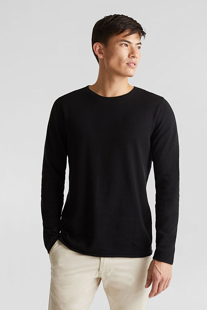 Fine knit cotton jumper, BLACK, detail image number 0