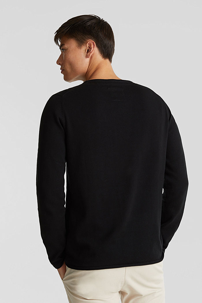 Fine knit cotton jumper, BLACK, detail image number 2
