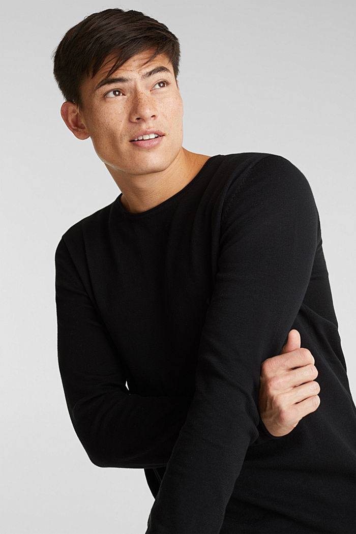 Fine knit cotton jumper, BLACK, detail image number 5