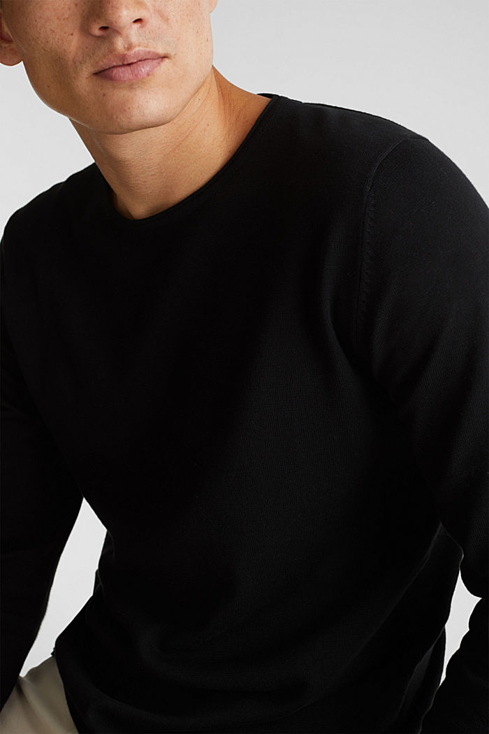 Fine knit cotton jumper, BLACK, detail image number 3