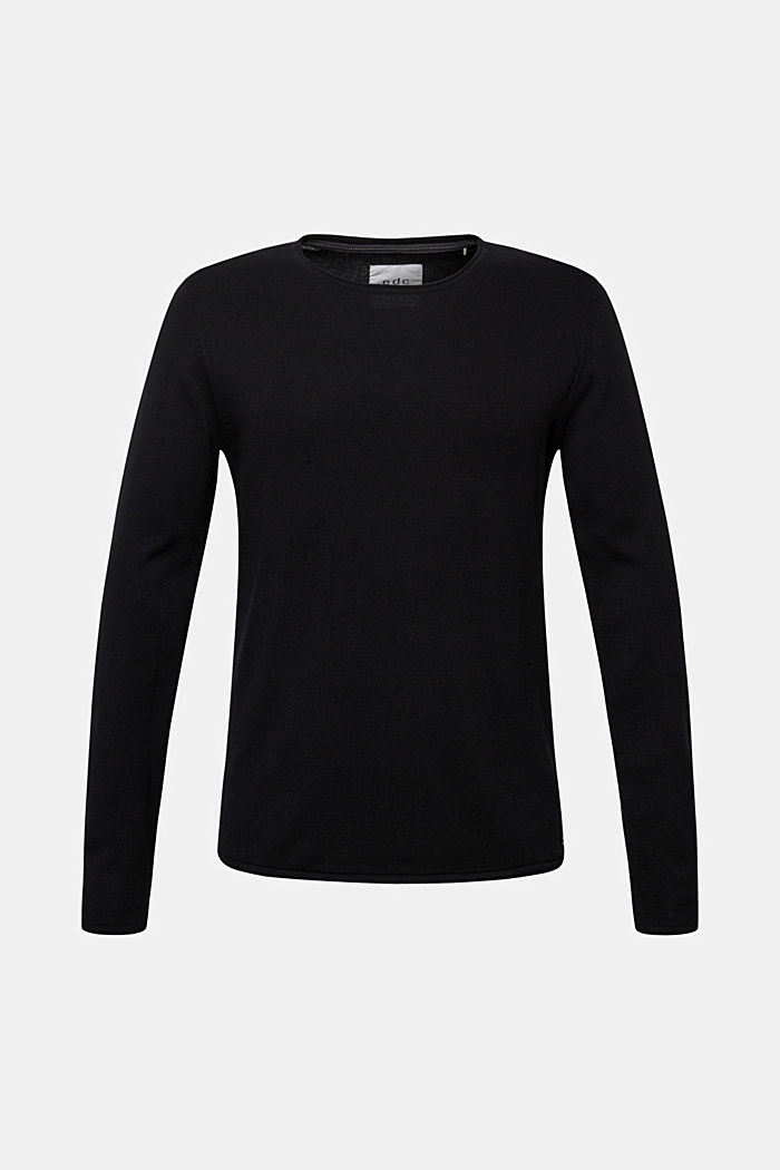 Fine knit cotton jumper, BLACK, detail image number 4