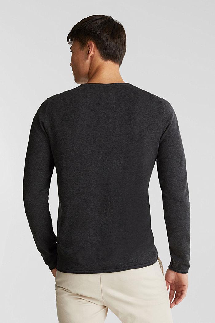 Fine knit cotton jumper, DARK GREY, detail image number 3