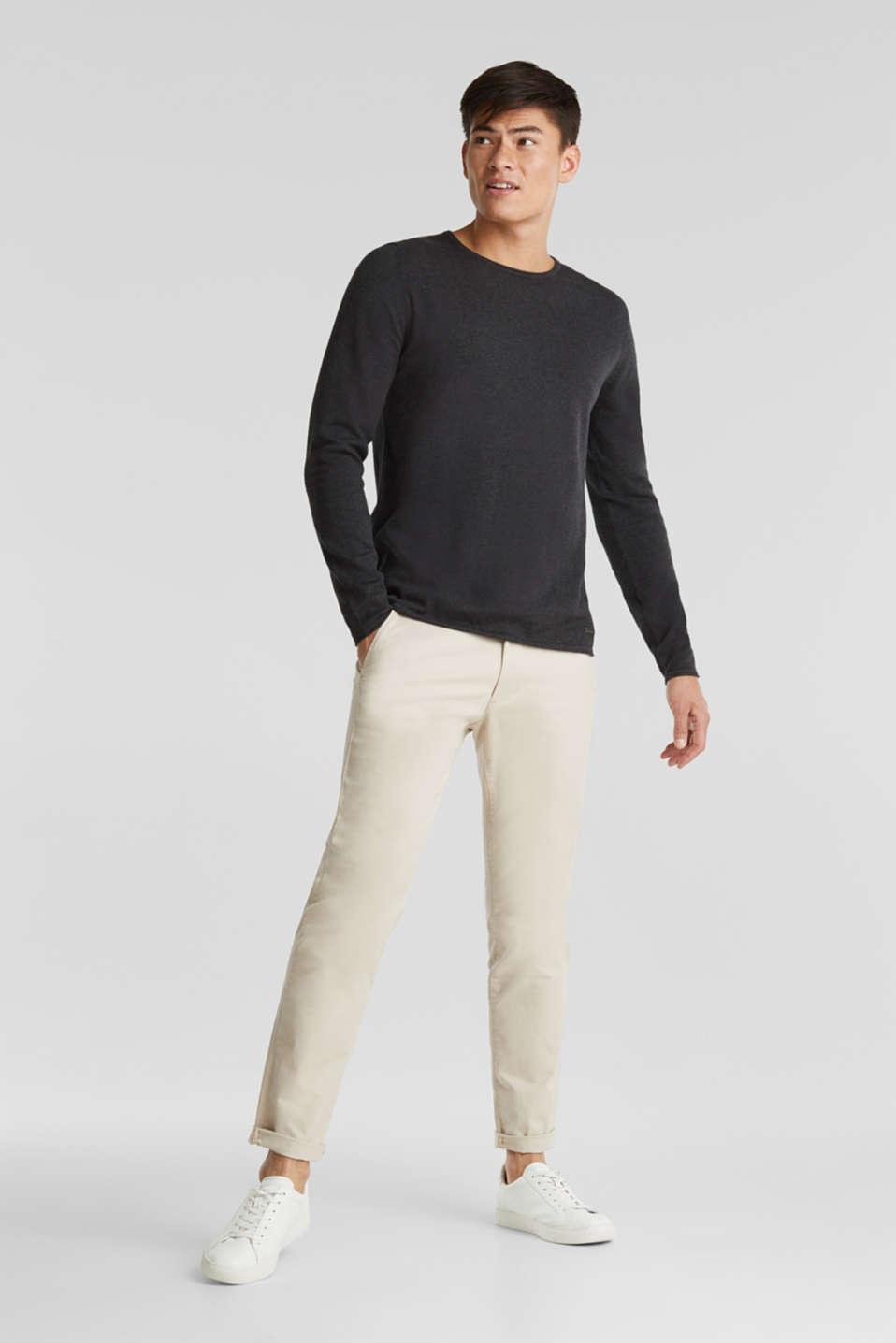 Fine knit cotton jumper, DARK GREY, detail image number 1