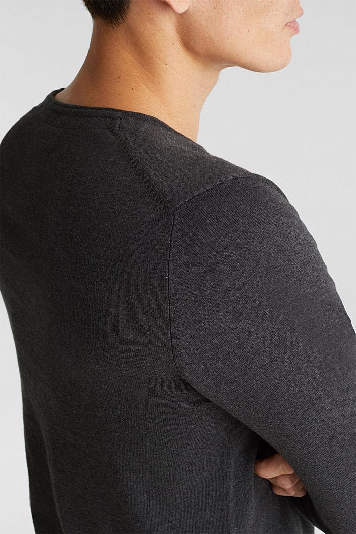 Fine knit cotton jumper, DARK GREY, detail image number 2
