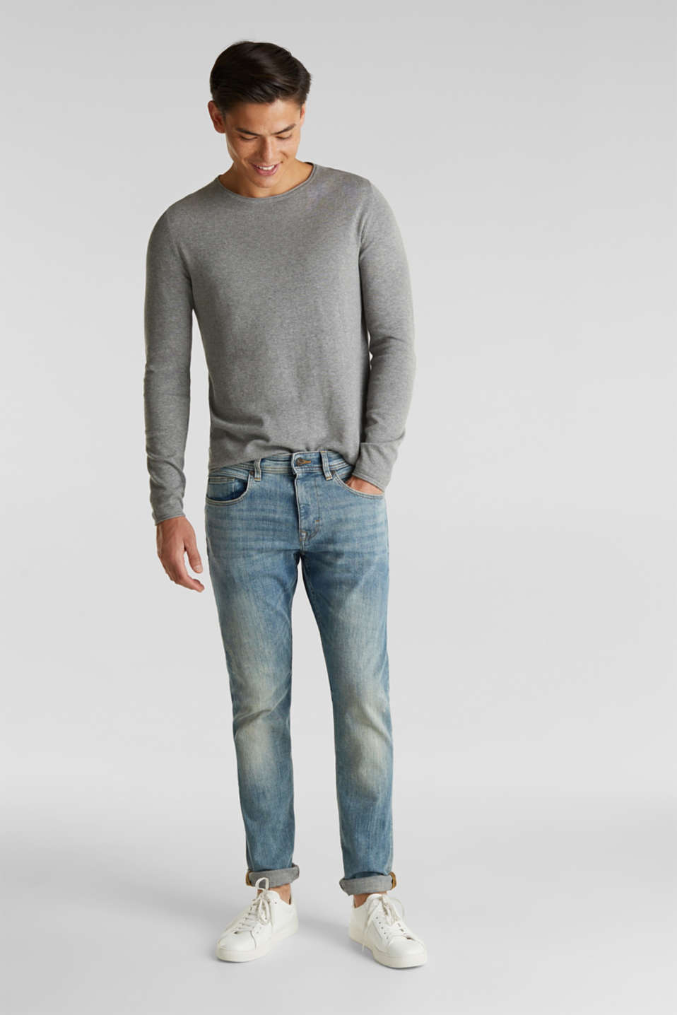 Fine knit cotton jumper, MEDIUM GREY, detail image number 1