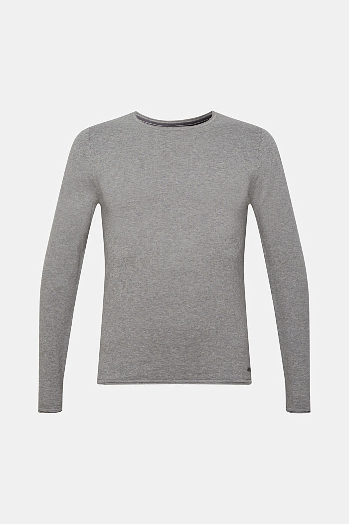 Feinstrick-Pullover aus Baumwolle , MEDIUM GREY, overview
