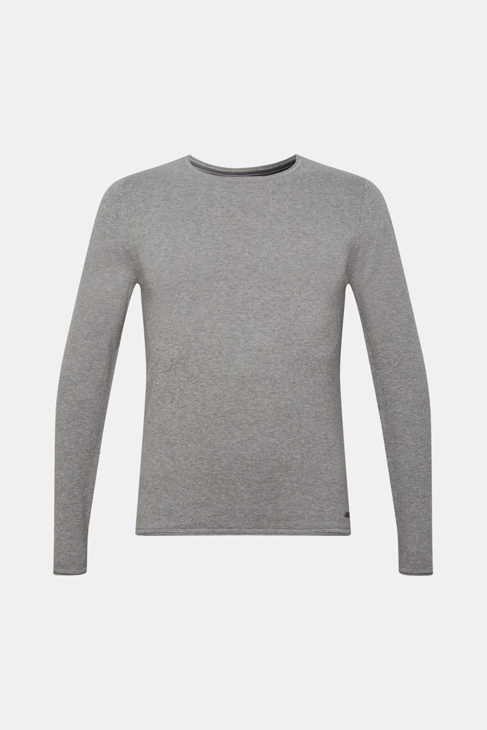 Fine knit cotton jumper, MEDIUM GREY, detail image number 5