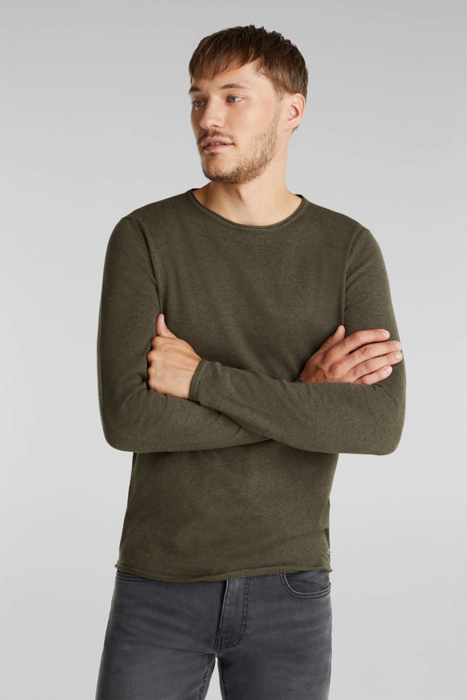 Fine knit cotton jumper, KHAKI GREEN, detail image number 0
