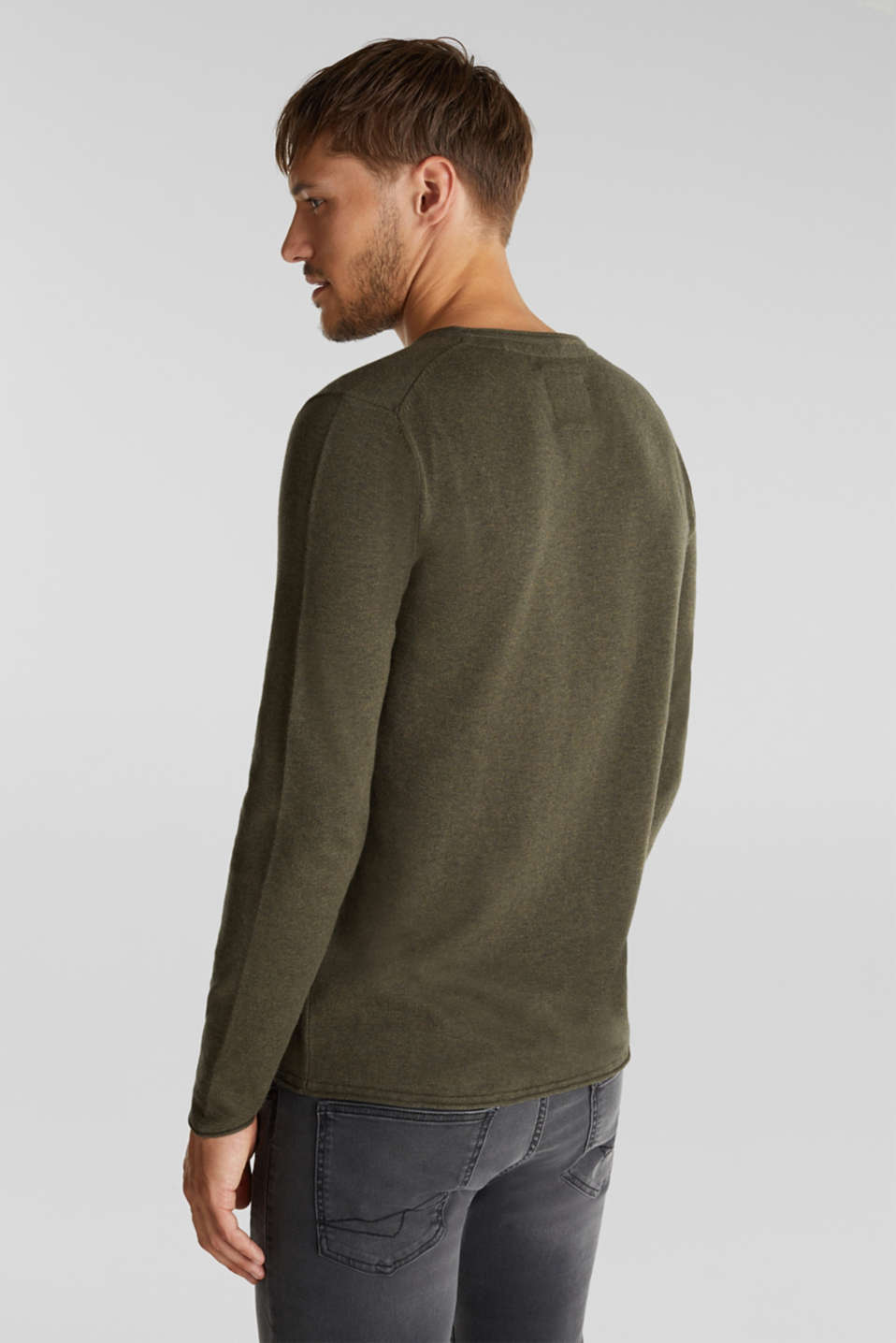 Fine knit cotton jumper, KHAKI GREEN, detail image number 3