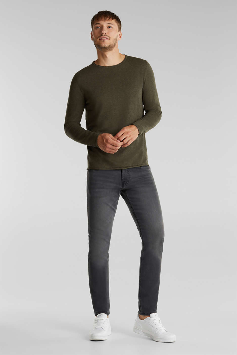 Fine knit cotton jumper, KHAKI GREEN, detail image number 1