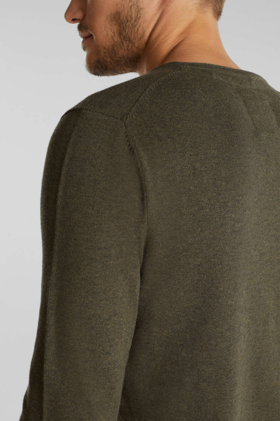 Fine knit cotton jumper, KHAKI GREEN, detail image number 2
