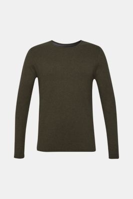 Fine knit cotton jumper, KHAKI GREEN, detail