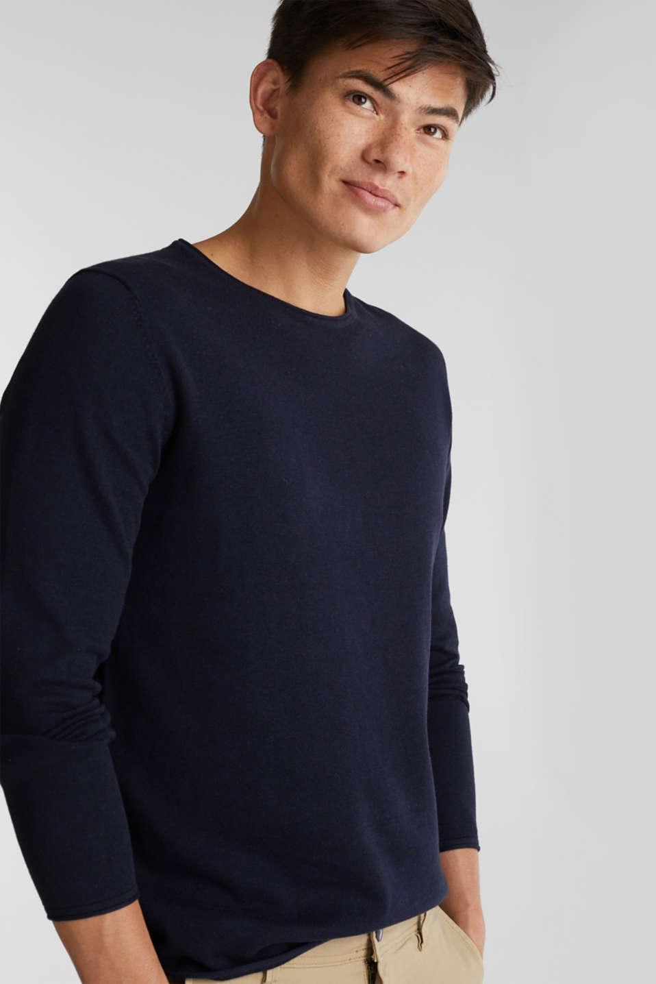 Fine knit cotton jumper, NAVY, detail image number 0