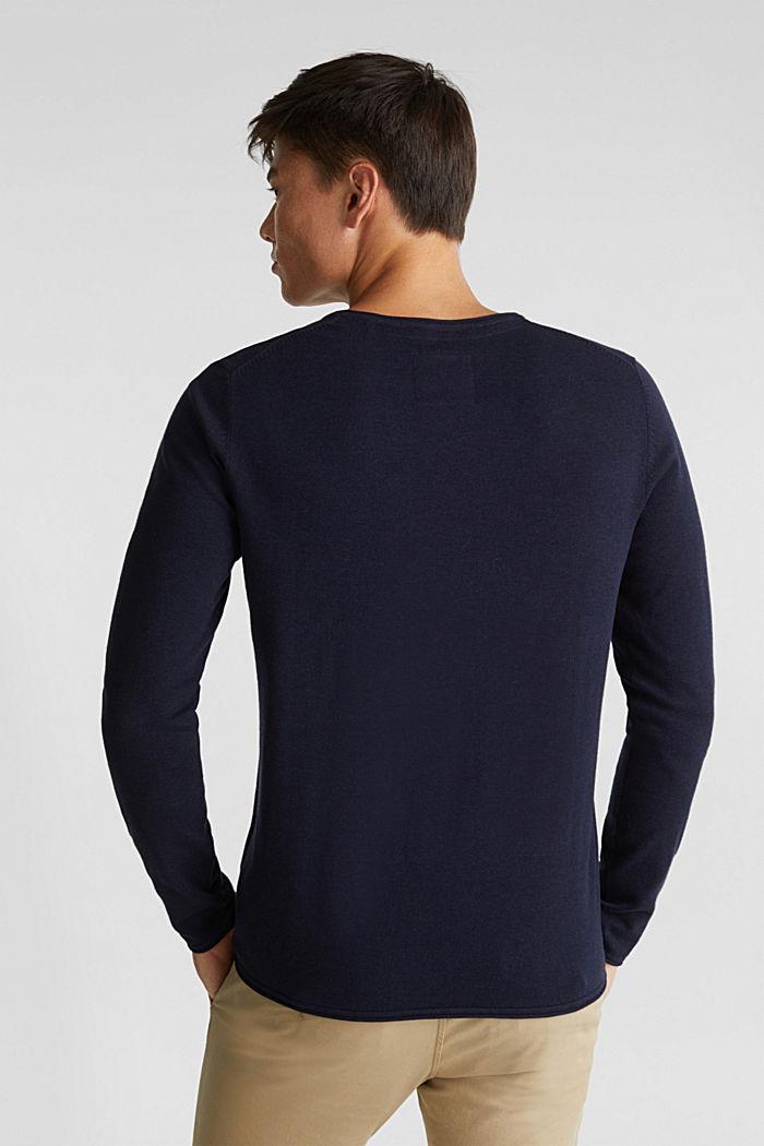 Feinstrick-Pullover aus Baumwolle , NAVY, detail image number 3