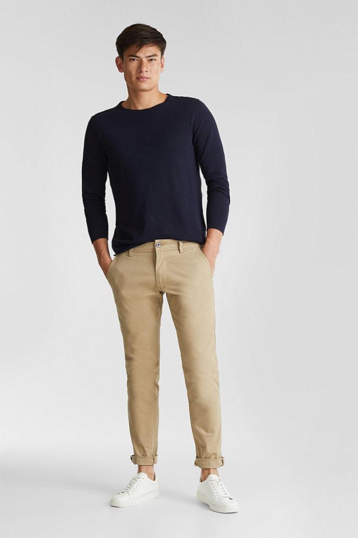 Feinstrick-Pullover aus Baumwolle , NAVY, detail image number 1