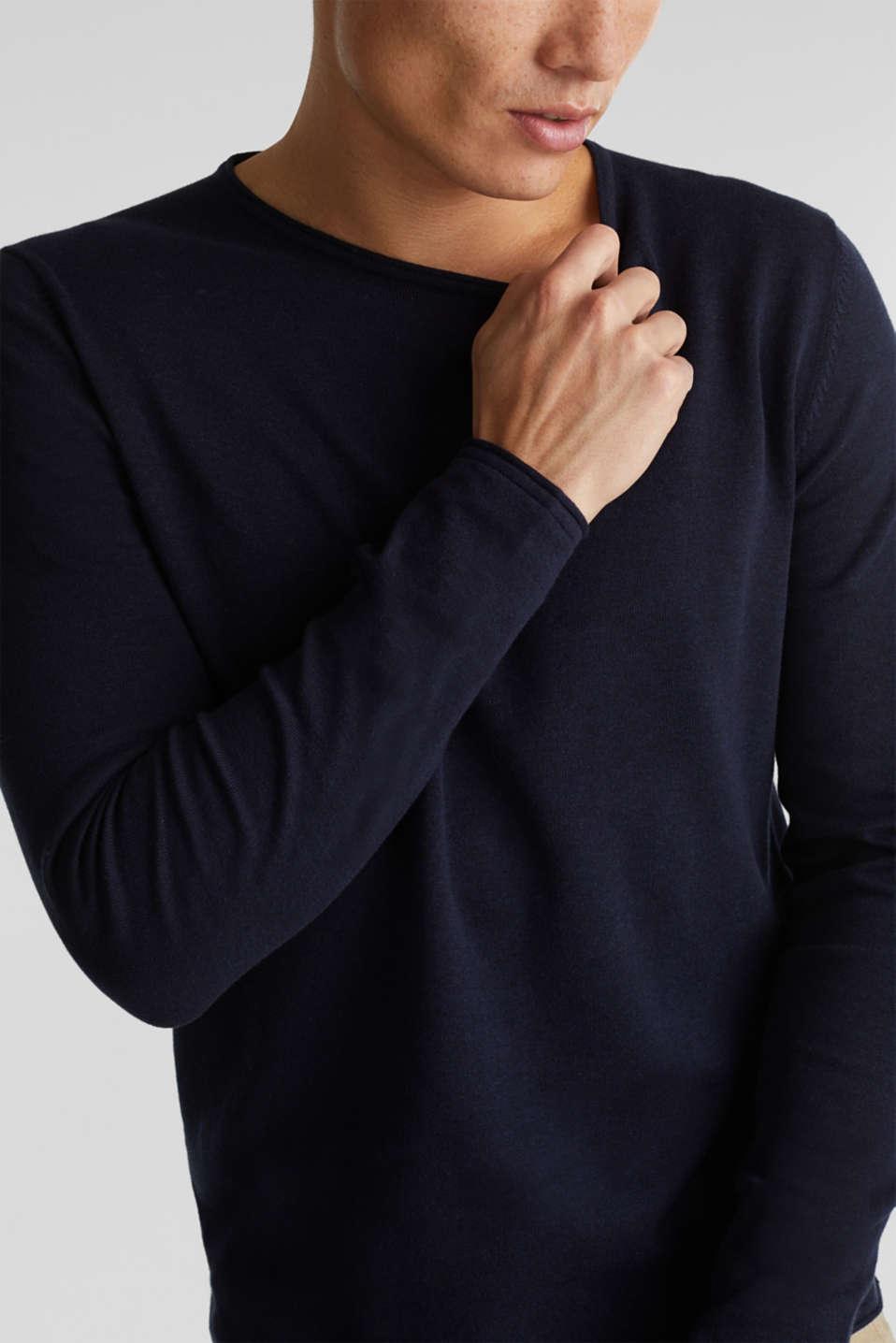 Fine knit cotton jumper, NAVY, detail image number 2