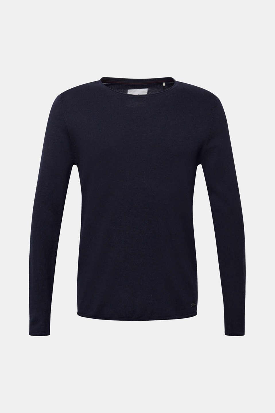 Fine knit cotton jumper, NAVY, detail image number 7