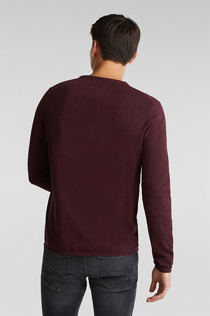Feinstrick-Pullover aus Baumwolle , BORDEAUX RED, detail image number 3