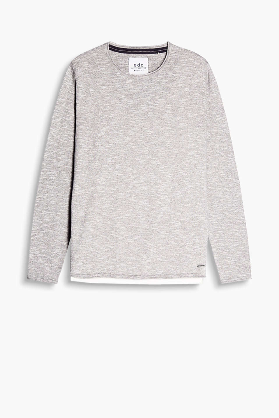 A fashion essential: melange jumper with a round neckline, made of pure cotton.