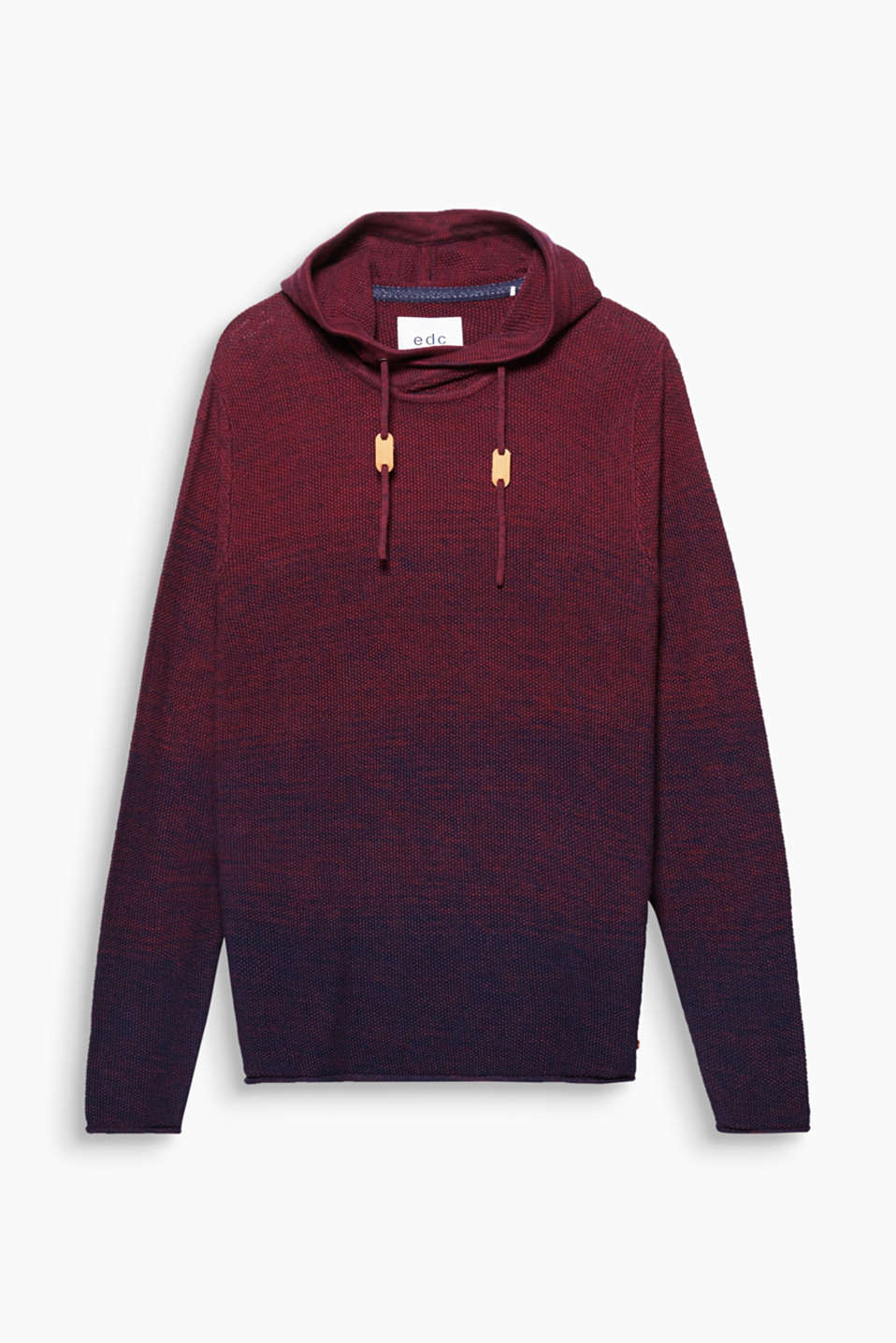 Your fashion essential: The textured knit and colour graduation make this hoodie a style favourite!