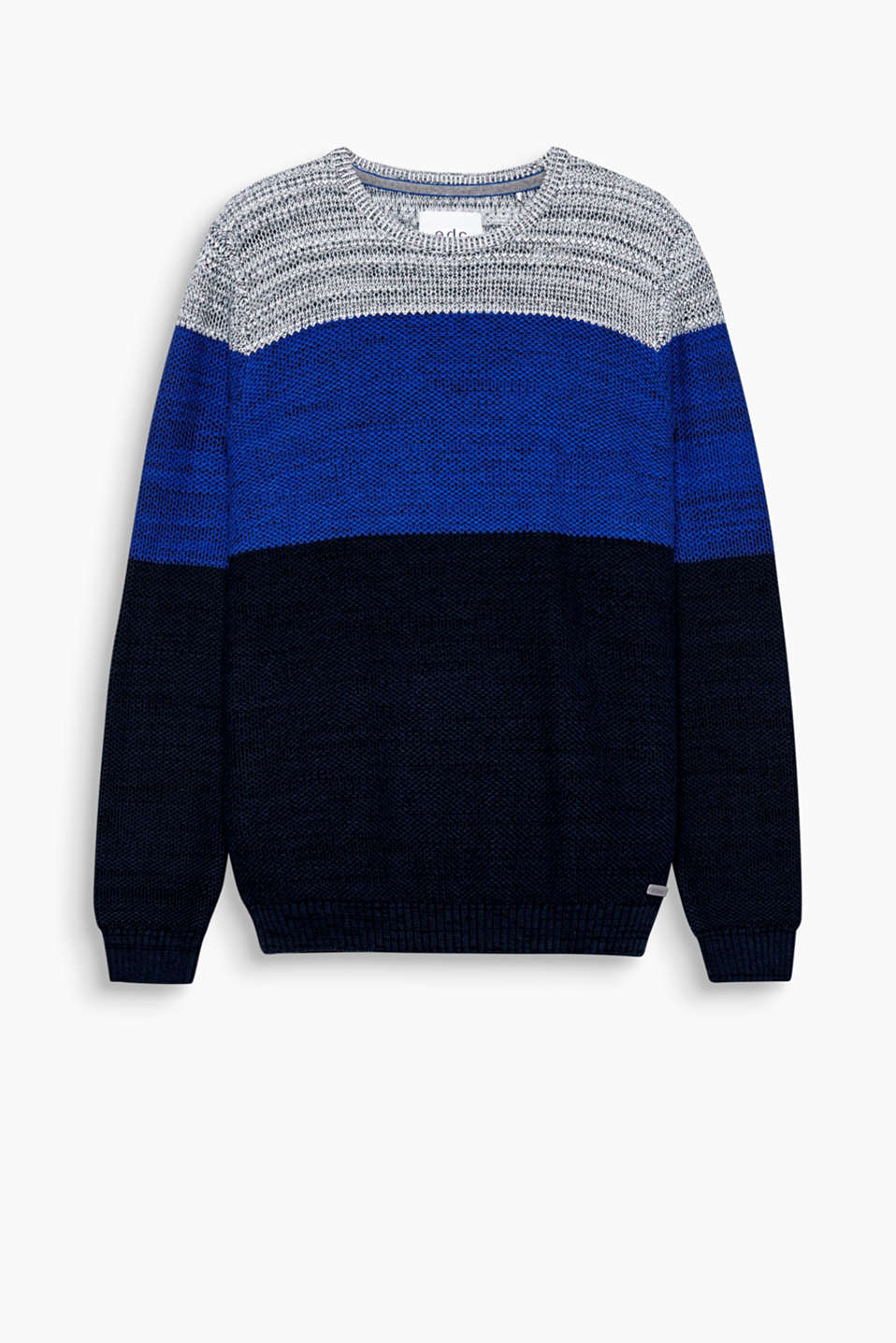 Block stripes in distinctive colours make this jumper in textured knit a favourite of the season!