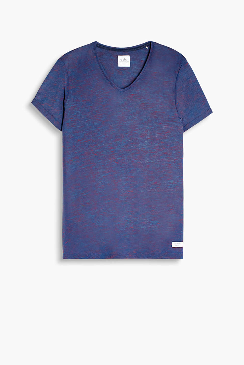 Your fashion essential - thanks to the cool, two-tone melange finish Slub jersey T-shirt