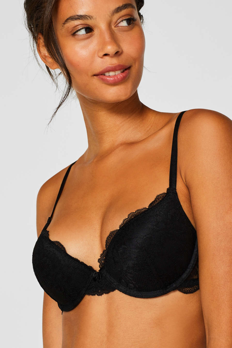 Push-up bra in floral lace, BLACK, detail image number 0