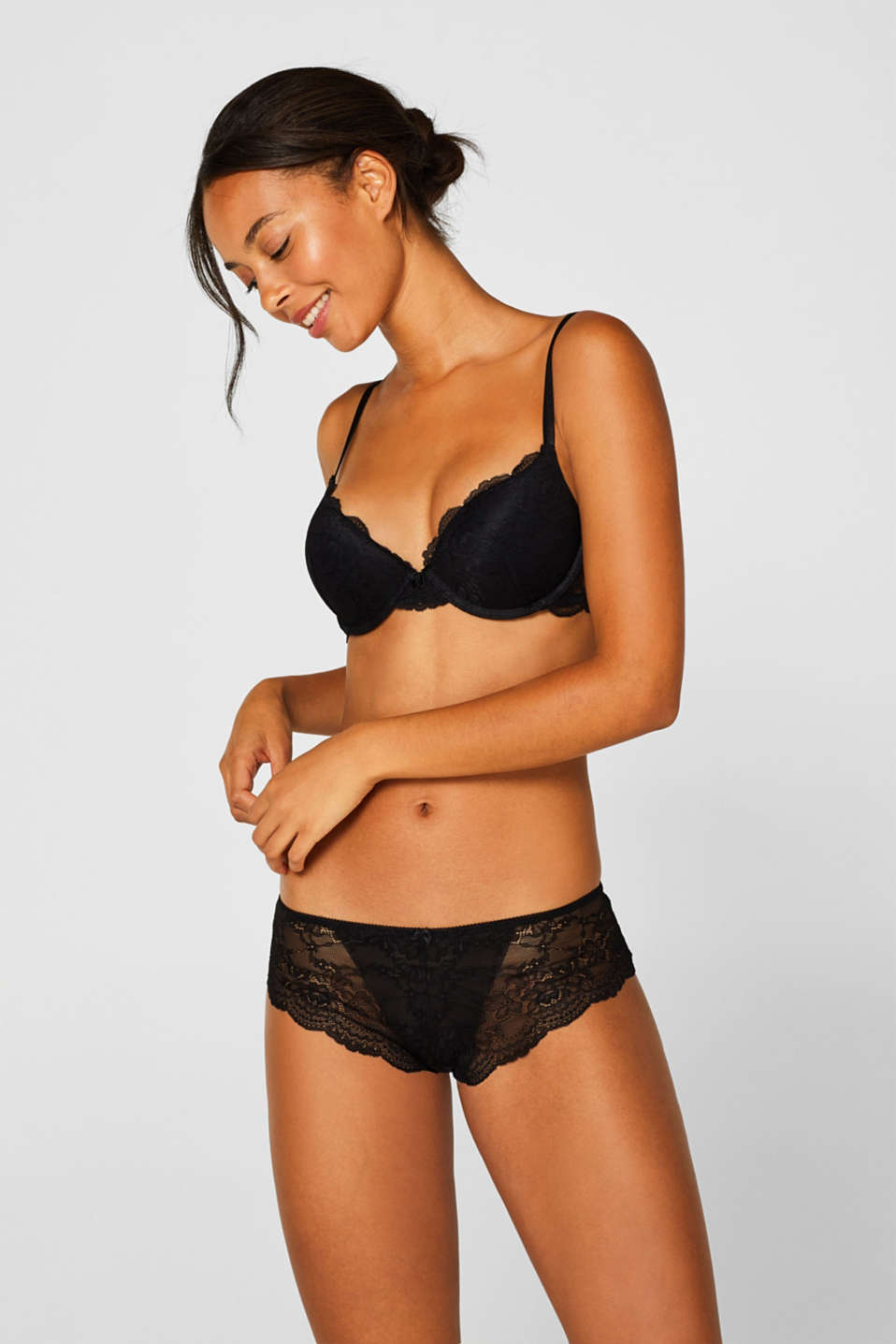 Push-up bra in floral lace, BLACK, detail image number 2