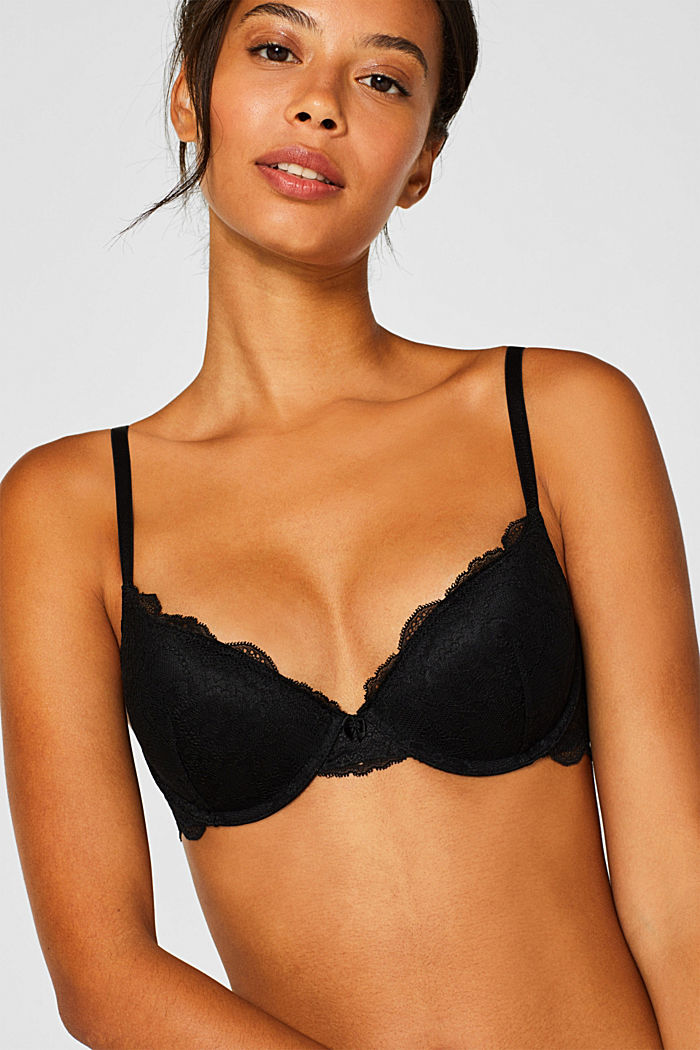 Push-up bra in floral lace