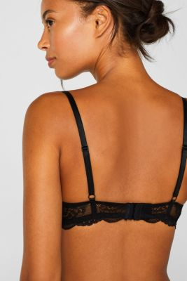 Push-up bra in floral lace, BLACK, detail