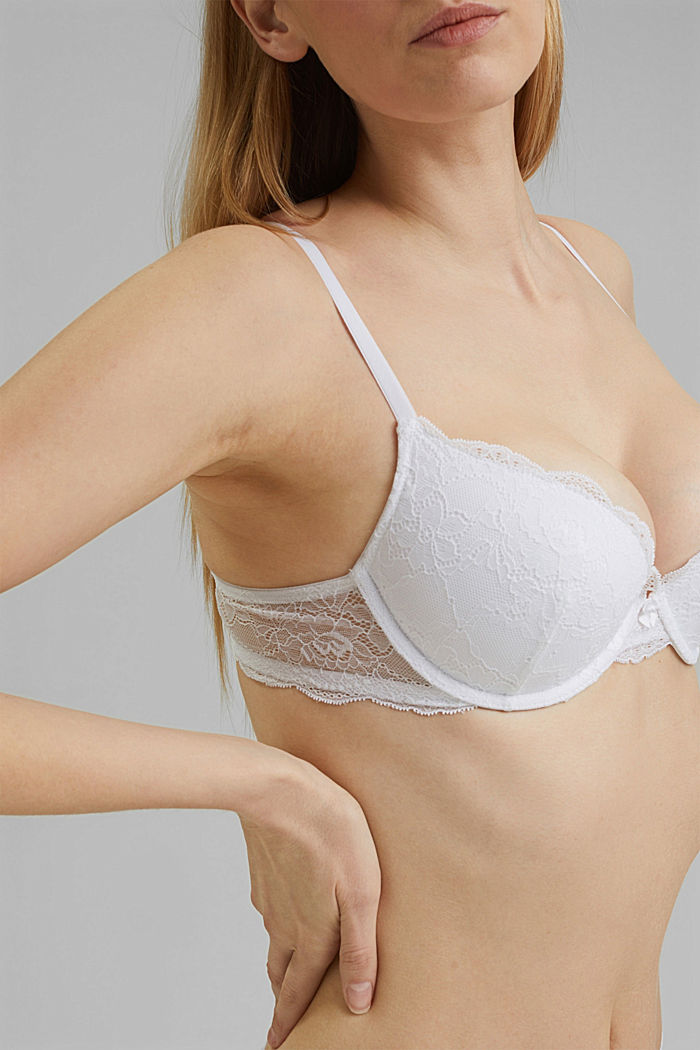 Push-up bra in floral lace, WHITE, detail image number 3