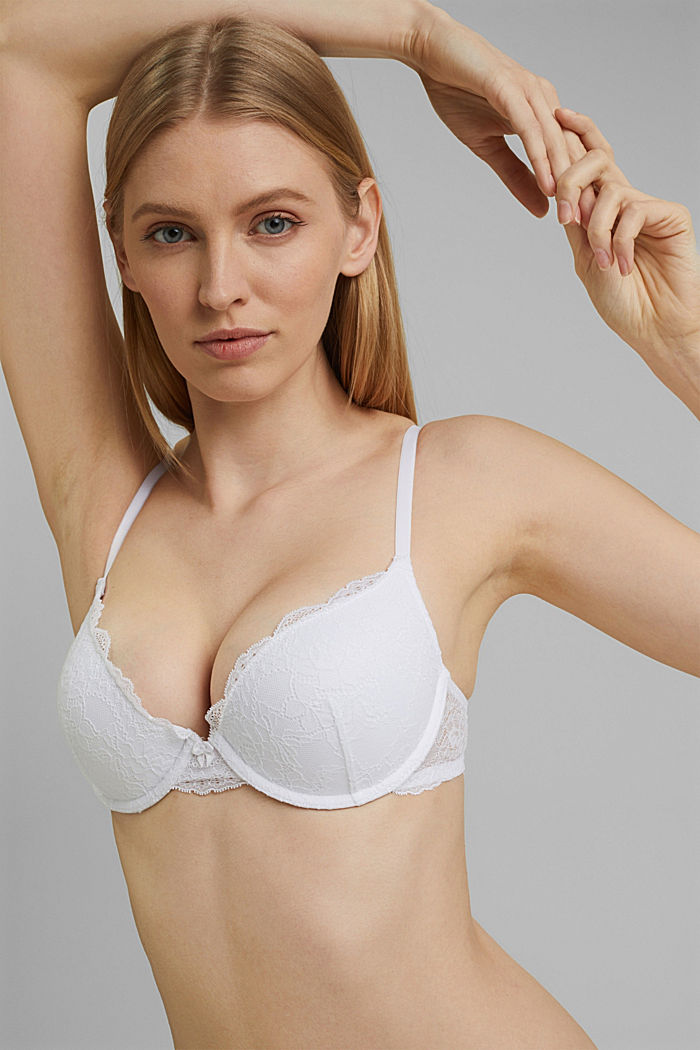 Push-up bra in floral lace, WHITE, detail image number 4
