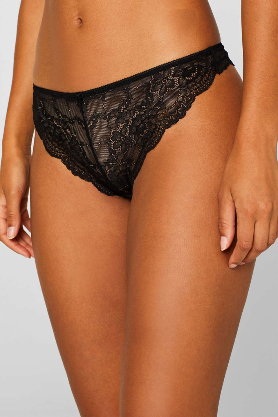 Brazilian hipster lace thong, BLACK, detail image number 1