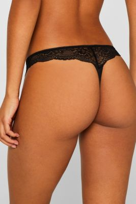 Brazilian hipster lace thong, BLACK, detail