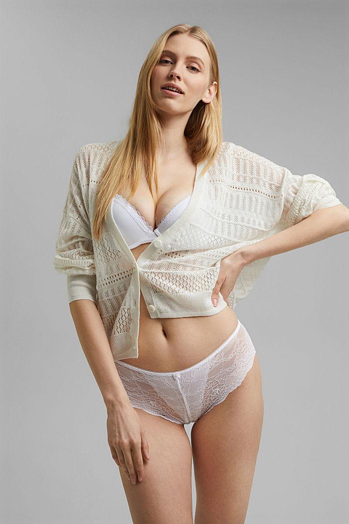 Brazilian Hipster-Shorts aus floraler Spitze, WHITE, detail image number 3