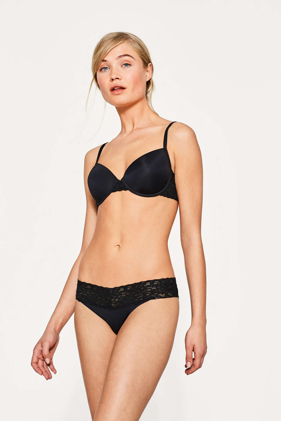 Hipster briefs made of microfibre fabric with a lace waistband, BLACK, detail image number 0