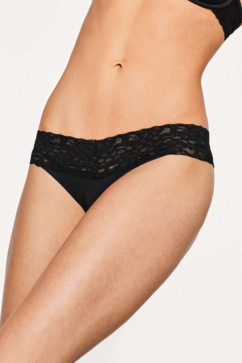 Hipster briefs made of microfibre fabric with a lace waistband, BLACK, detail image number 1