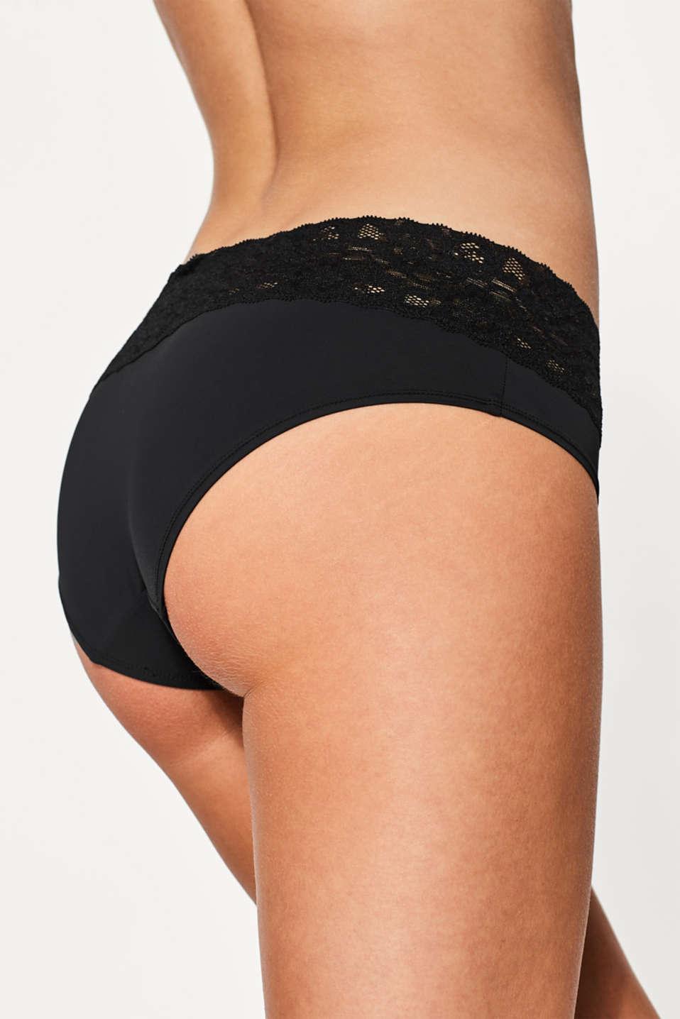 Basic microfibre hipster shorts, BLACK, detail image number 2
