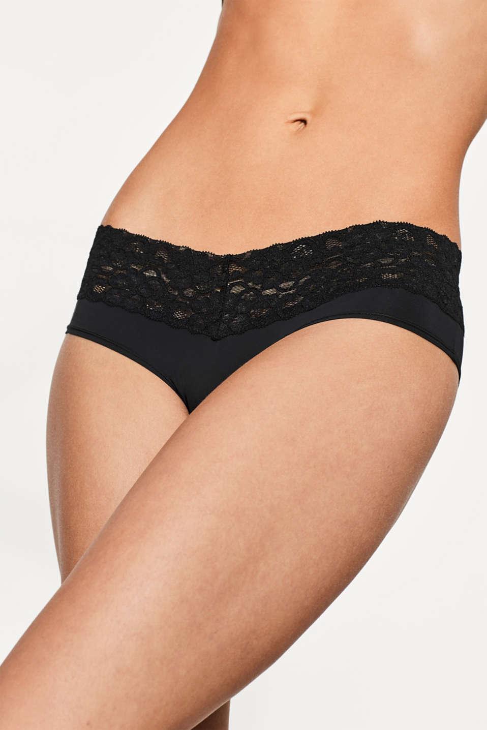 Basic microfibre hipster shorts, BLACK, detail image number 1
