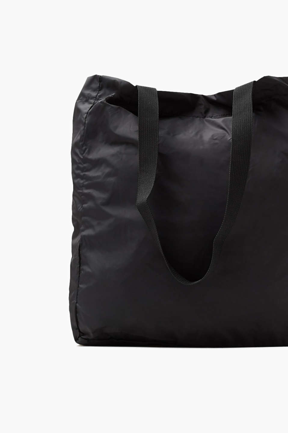 Light and floaty nylon shopper with a logo, BLACK, detail image number 3