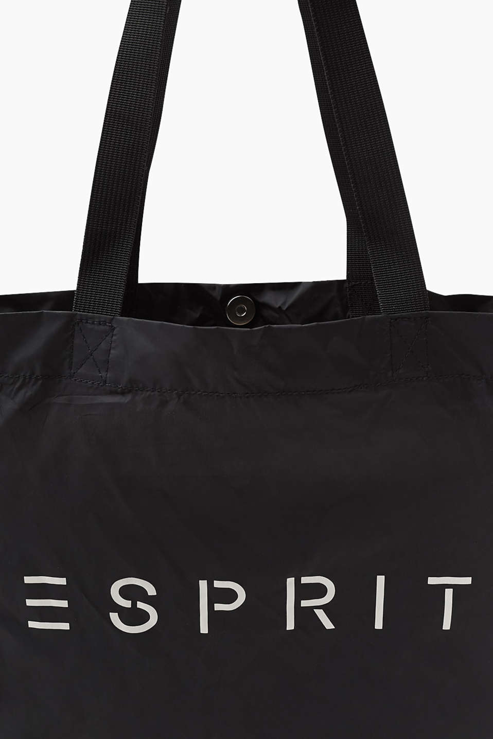 Light and floaty nylon shopper with a logo, BLACK, detail image number 2