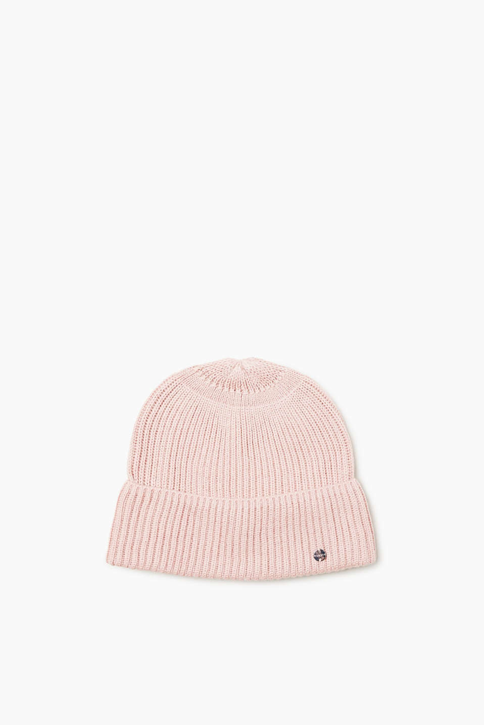 This beanie with a wide turn-back cuff has a timeless look thanks to the sporty, ribbed texture and the cashmere content!